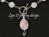 Rose quartz leaf and flowers, with pearl accents