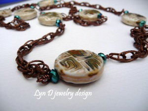 ceramic beads and Czech glass crystals on copper chain 1