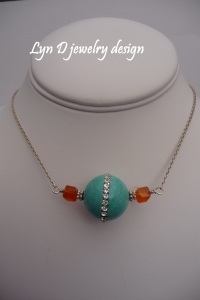 magnesite with cubic zirconia and carnelian on sterling knurl chain 2
