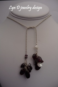 rhodolite garnet and baroque pearl on sterling knurl chain 1